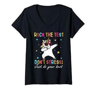 Womens rock the test shirt funny school professor teacher joke V-Neck T-Shirt