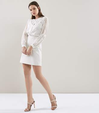 Reiss ROSEMARY Lace Pocket Dress White