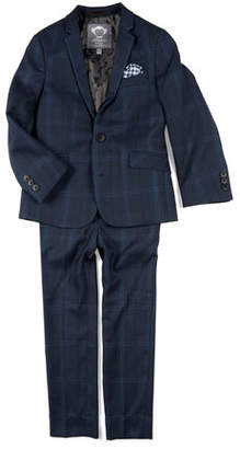 Appaman Boys' Two-Piece Mod Glen Plaid Suit w/ Gingham Pocket Square, 4-16