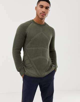 G Star G-Star Suzaki pro ribbed knit jumper in khaki