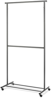 Whitmor 2-Rod Rolling Clothes Garment Rack