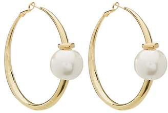 Diana Broussard Gold-Tone Madame Resin Pearl Maxi Hoop Earrings