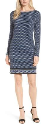 MICHAEL Michael Kors Alston Boatneck Contrast Border Print Dress