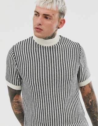 Asos Design DESIGN knitted vertical stripe turtleneck t-shirt in monochrome