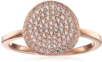 """Crislu Simply Pave"""" Circle 18K Rose Gold Plated Sterling Silver Ring"""