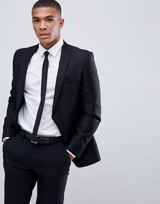 Burton Menswear Jacquard Blazer In Black