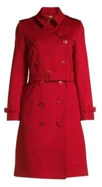 Burberry Women's Kensington Cashmere Trench Coat - Parade Red - Size 10
