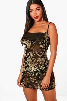 boohoo Michelle Devore Cowl Neck Bodycon Dress