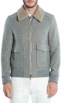 Eleventy Wool & Cashmere Shearling Collar Bomber Jacket