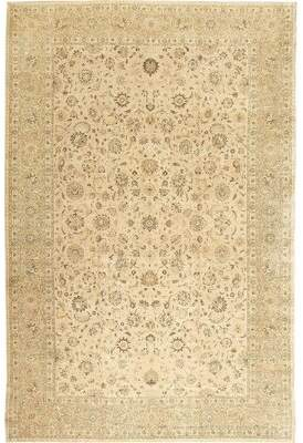 Nazmiyal Collection Tabriz Persian Antique Cream Area Rug Nazmiyal Collection