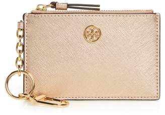 Tory Burch Robinson Metallic Leather Card Case with Key Chain