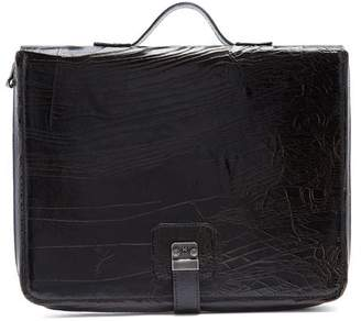 Marc Marmel Dux Pad Cracked Leather Document Holder - Mens - Black