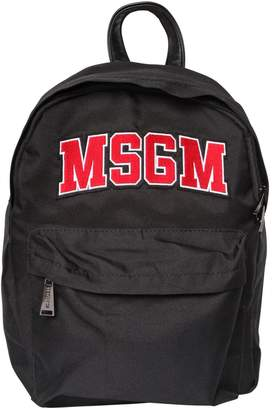 MSGM Logo Patch Nylon Canvas Backpack