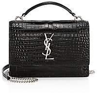 Saint Laurent Women's Sunset Crocodile-Embossed Leather Crossbody Bag