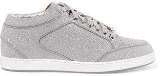 f3343c65f Jimmy Choo Miami Glittered Leather Sneakers - Silver