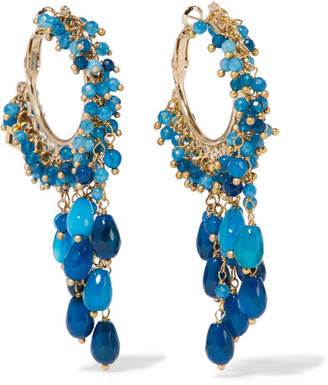 Rosantica Pascoli Gold-tone Quartz Hoop Earrings - Blue
