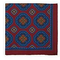 Bigi Men's Large-Medallion-Print Silk Twill Pocket Square - Red