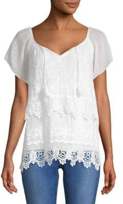 Layered Embroidered Silk Top