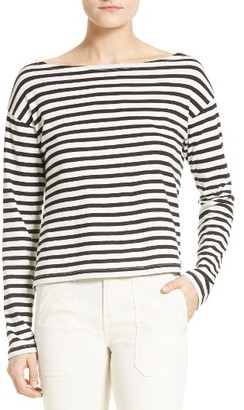 Women's Vince Bold Stripe Boatneck Tee $95 thestylecure.com