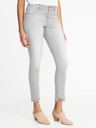 Old Navy Mid-Rise Gray Step-Hem Rockstar Super Skinny Ankle Jeans for Women