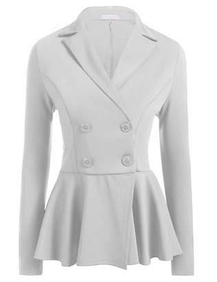 2f82ba9657f SEBOWEL Women s Casual Wor Blazer Jacket Peplum Notch Lapel Office Cardigan  Suit