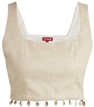 Staud - Fromer Shell Trimmed Linen Blend Crop Top - Womens - Khaki