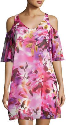 Maggy London Floral-Print Chiffon Shift Dress, Red Pattern
