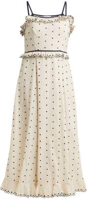 RED Valentino Polka-dot and ruffle-embellished dress