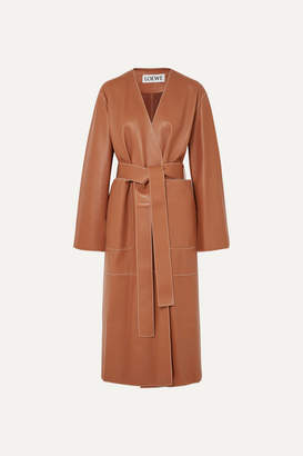 Loewe Belted Leather Coat - Tan