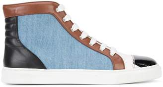 Louis Leeman contrast lace up hi-tops