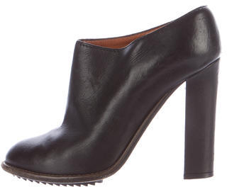 Lanvin Lanvin Leather Round-Toe Booties