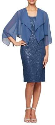 Alex Evenings Sequin 2-Piece Jacket Dress Set