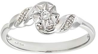 N. Naava Women's 9 ct White Gold Diamond Accent Ring