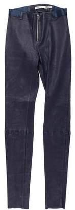 Alice + Olivia Leather Mid-Rise Pants
