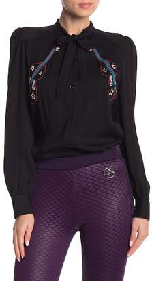 Love Moschino Embroidered Front Tie Blouse