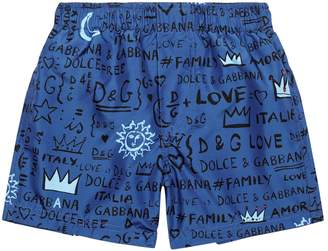 Dolce & Gabbana Graffiti Print Swim Shorts