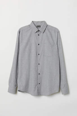 H&M Regular Fit Flannel Shirt - Gray