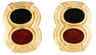 18K Onyx & Carnelian Cameo Clip-On Earrings