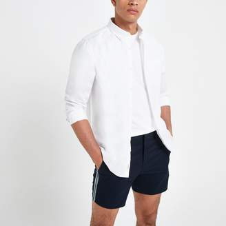 River Island Mens White linen long sleeve shirt