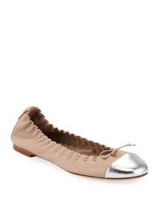 Tory Burch Metallic Cap-Toe Leather Ballet Flats