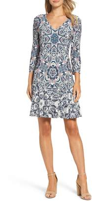 Eliza J Print Knit A-Line Dress