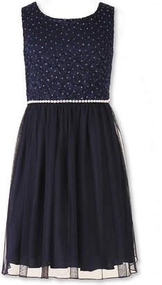 Speechless Sleeveless Navy Sparkle Lace-to-Mesh Ballerina Dress - Girls 7-16 and Plus