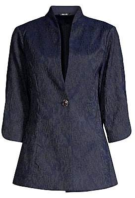 Misook Women's Textured Woven Single-Breasted Jacket