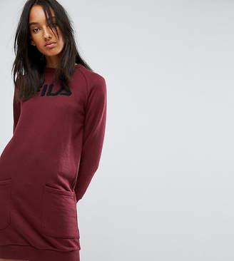 Fila Tall Oversized Sweater Dress With Logo And Pocket Detail