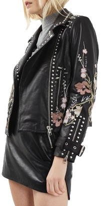 Women's Topshop Essie Leather Biker Jacket $560 thestylecure.com