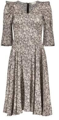 Masscob Sale - Flower Silk Midi Dress