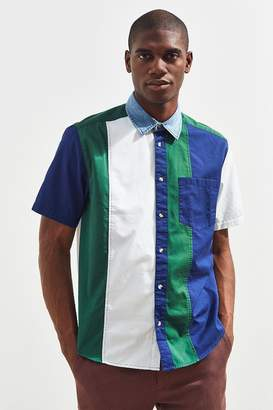 Urban Outfitters Colorblocked Denim Collar Short Sleeve Button-Down Shirt