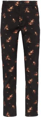 Ann Demeulemeester floral-embroidered velvet trousers