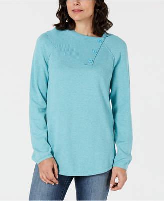 Karen Scott Cotton Button-Neck Sweater, Created for Macy's