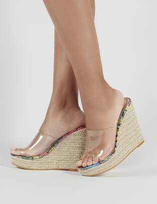4ce01b1af3e Public Desire Pacha Espadrille Wedge Heeled Mules in Snake Print